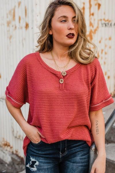 *Erin's Closet* Waffle Knit Top w/ Buttons