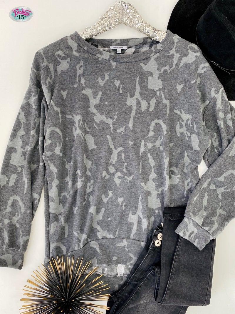 .Charcoal Grey Animal Print Top