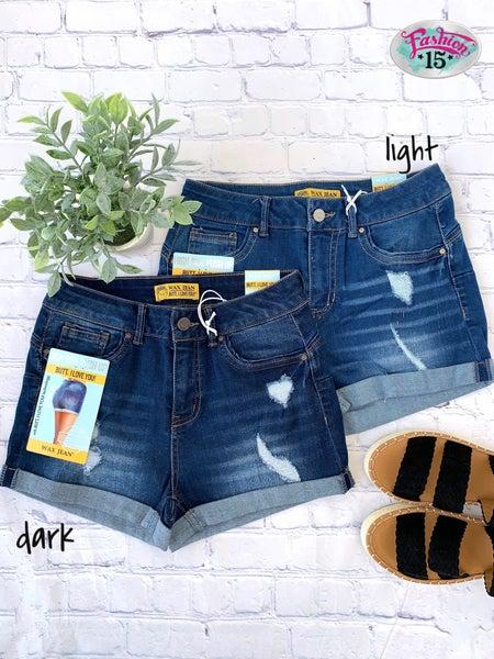 Lightly Distressed Cuffed Shorts
