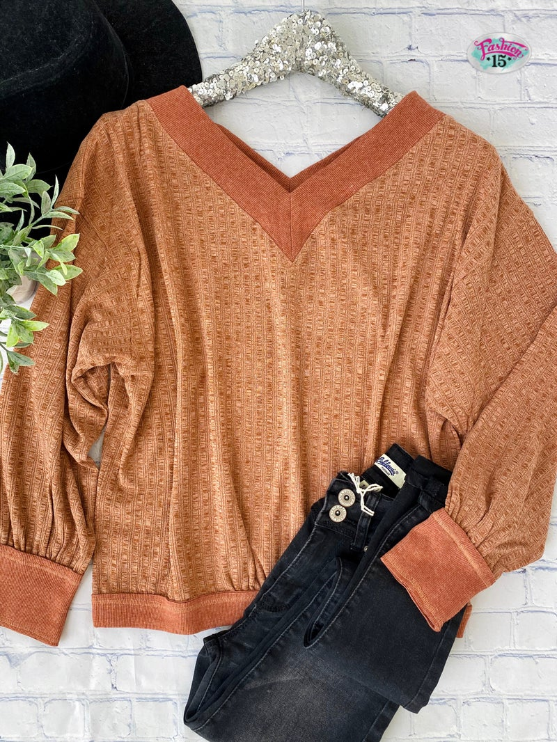 Rust Double V-Neck Top