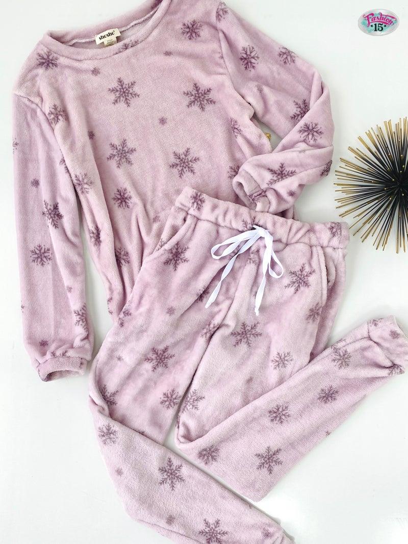 Super Soft Lilac Snowflake PJ Set
