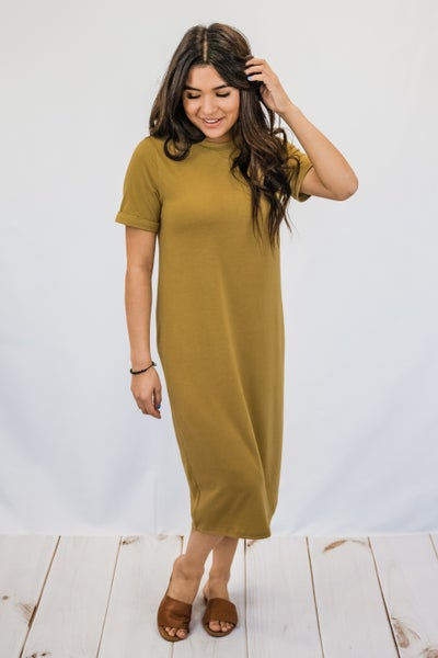 Solid Cuffed Sleeve Dress