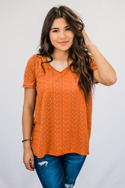 ~Rust Patterned Top
