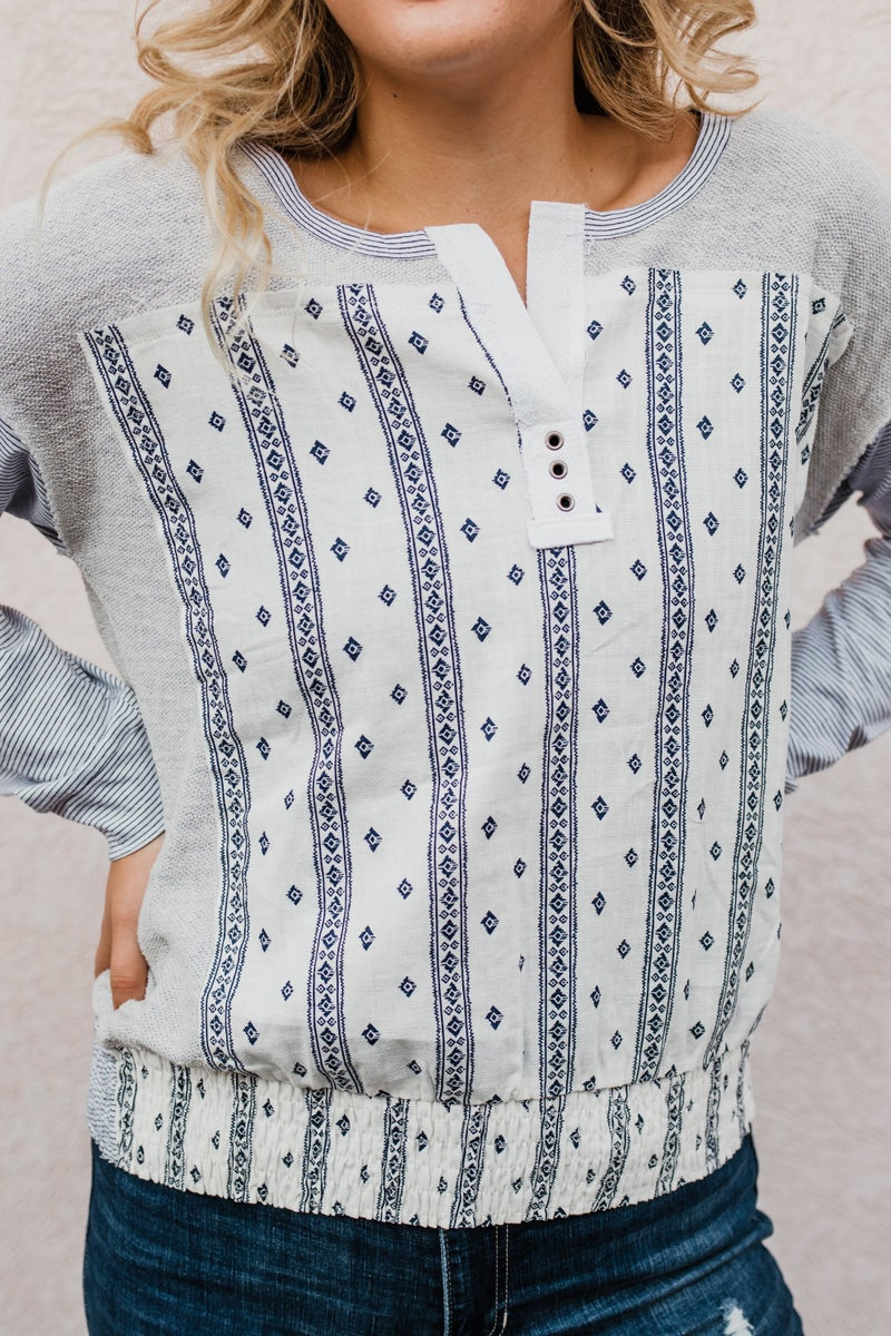 Blue & Grey Patterned  Top
