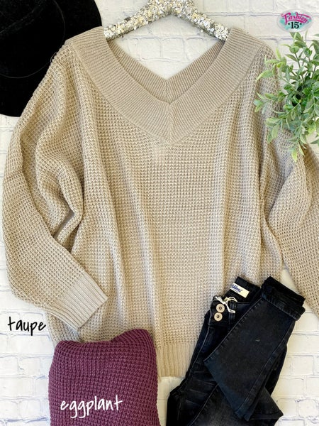 Plus Double V-Neck Waffle Knit Top