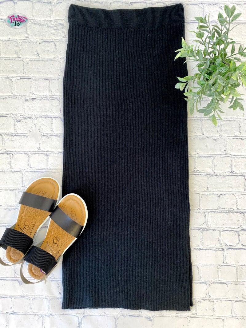 Black Ribbed Sweater Skirt