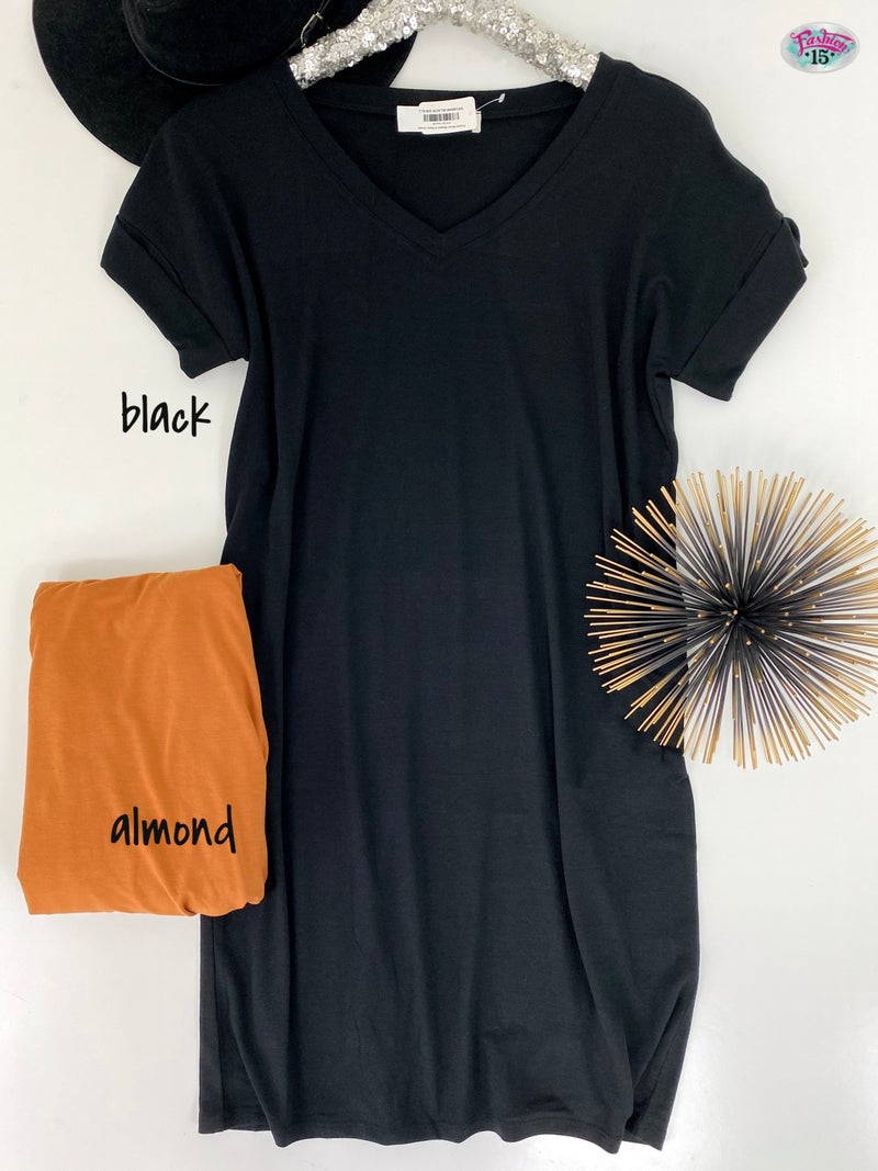 Rolled Short Sleeve V-Neck Dress