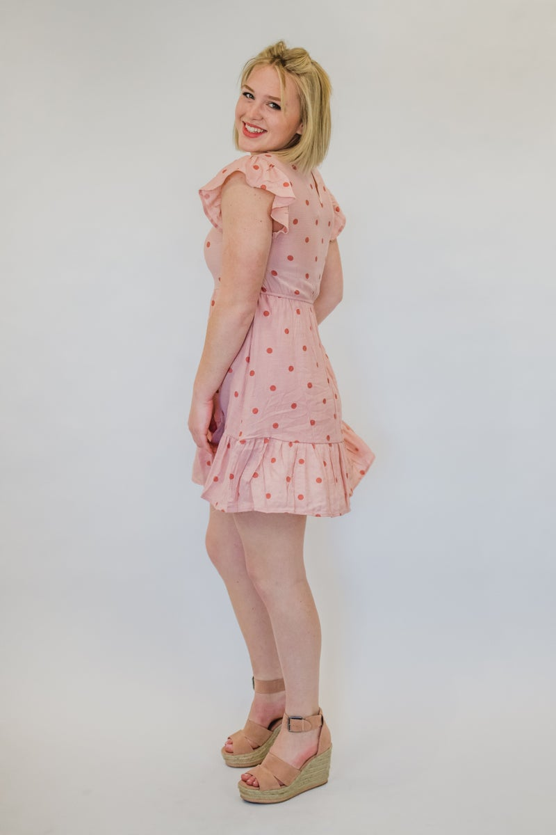 Peach Polka Dot Dress