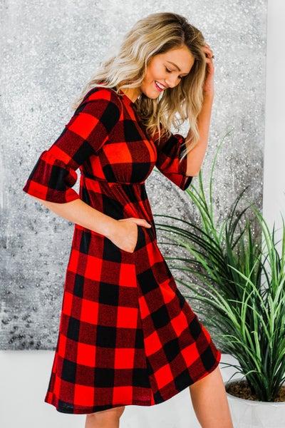 Plaid Dress w/ Bell Sleeves