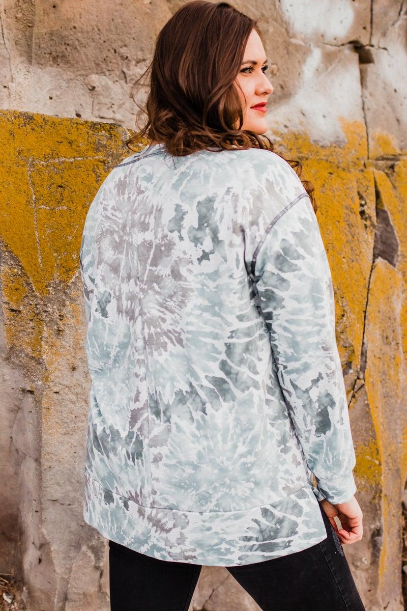 .~Grey & Blue Tye Dye Top