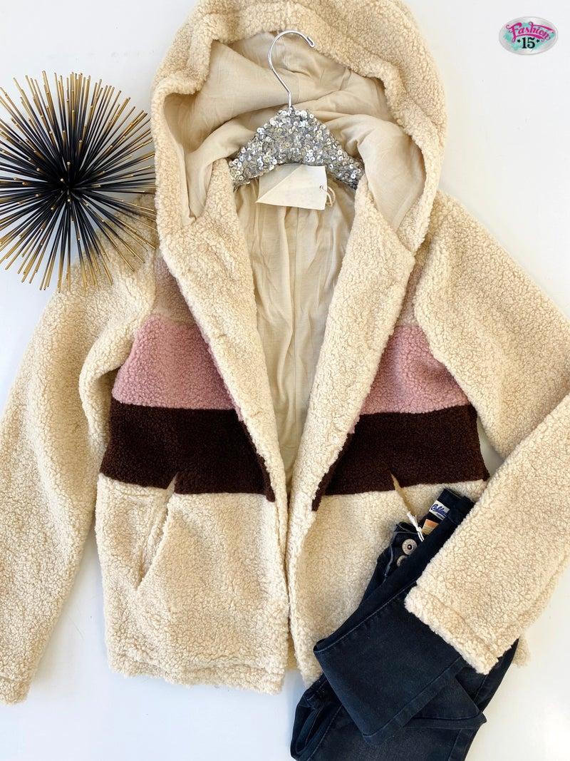 .Color Block Jacket w/ Hood