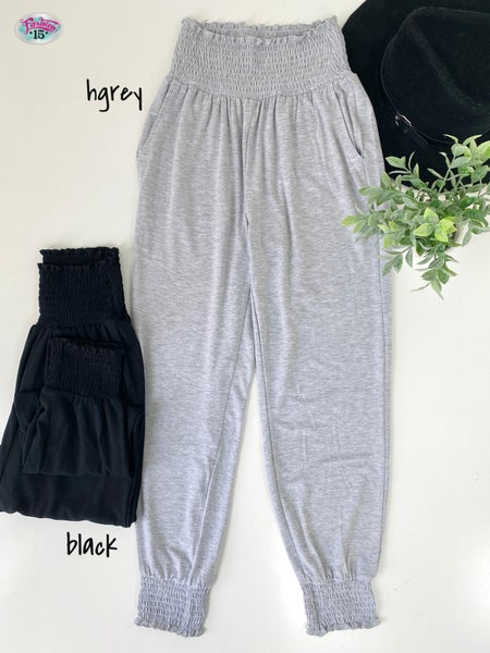 High-Waisted Smocked Joggers