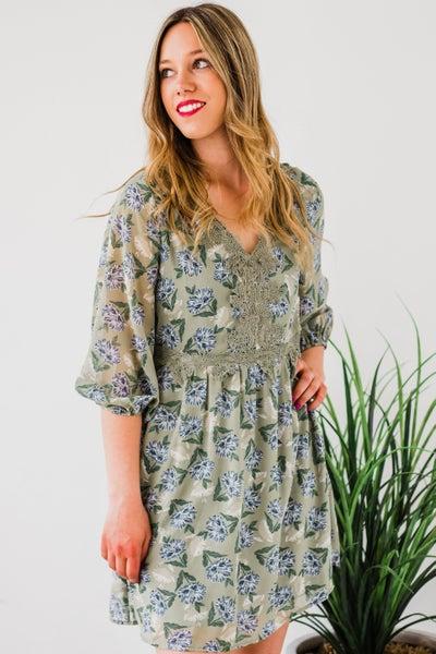 Floral Dress w/ Lace