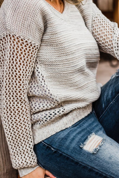 Grey Knit Top