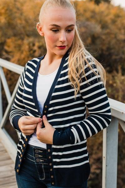 Striped Snap Cardigan