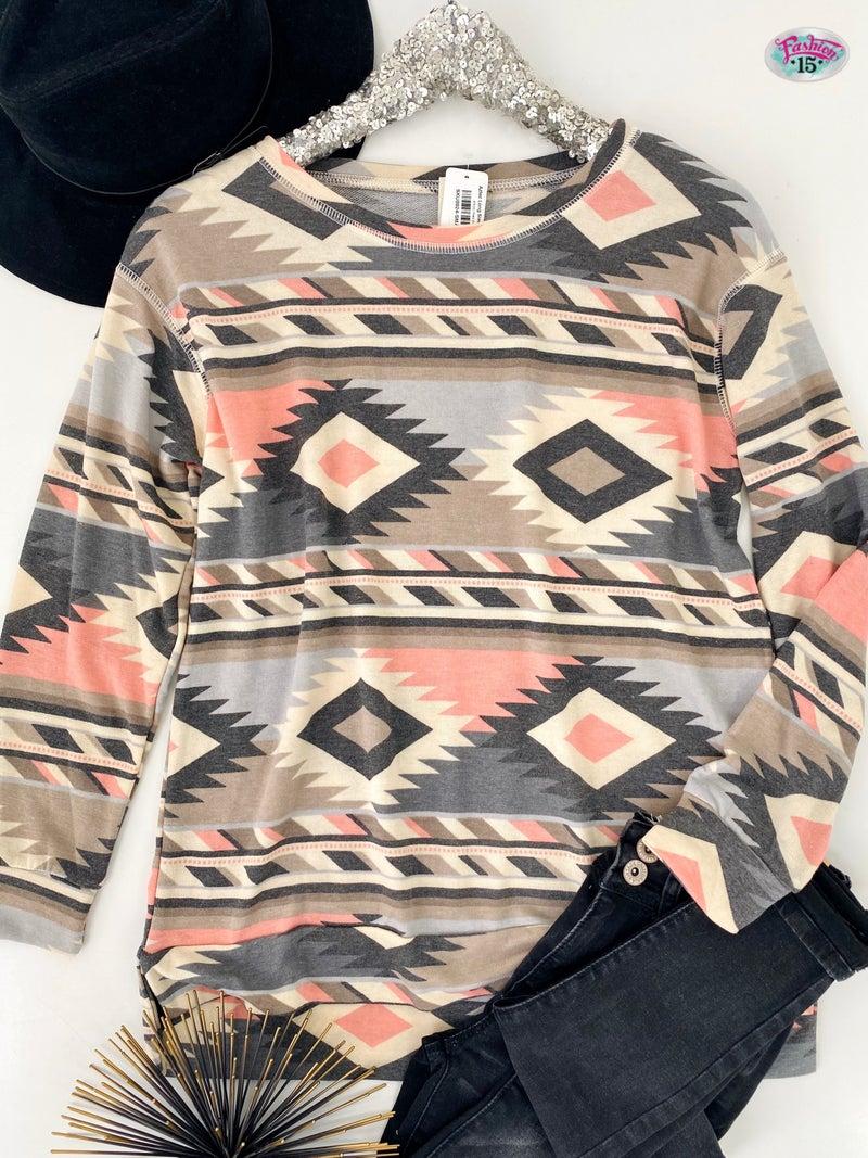 .Aztec Long Sleeve Top