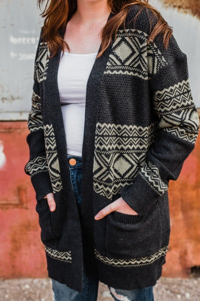 *Erin's Closet* Charcoal Patterned Cardigan
