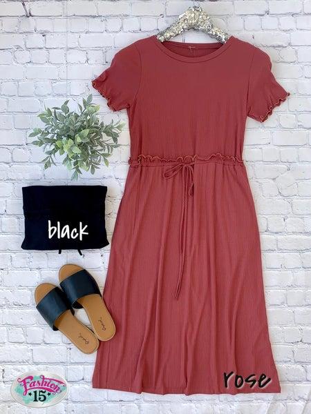 Solid Midi Dress w/ Tie