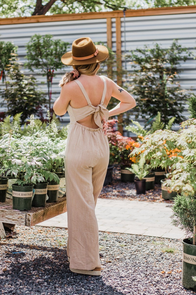 Solid Jumpsuit w/ Buttons