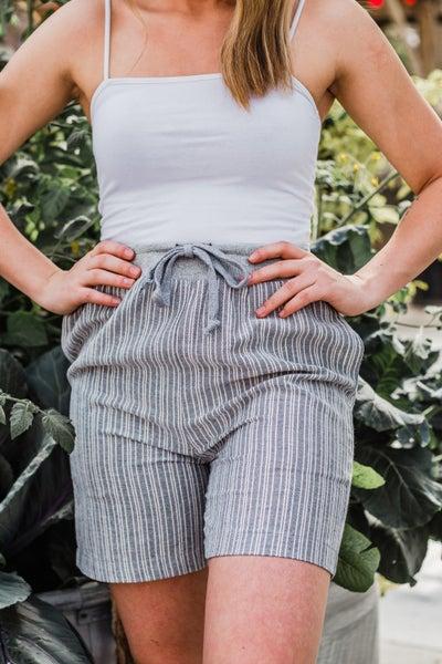 Grey & Ivory Striped Shorts