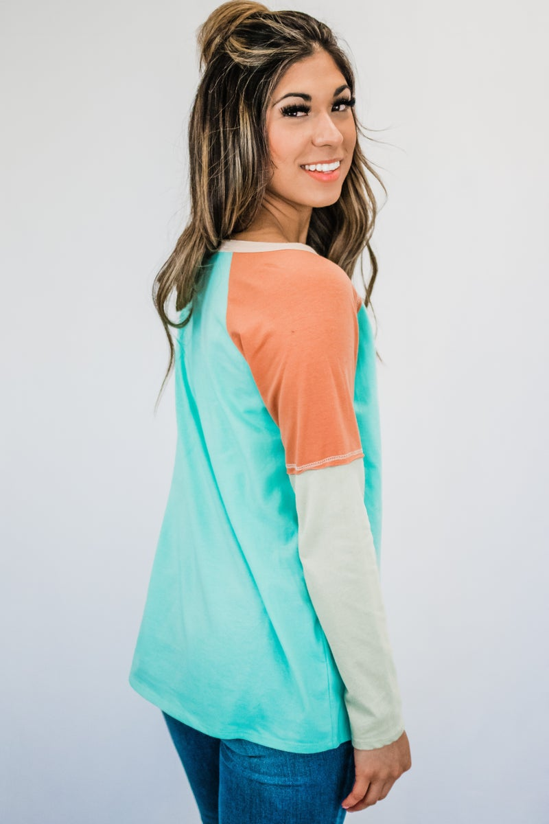 Mint Color Block Long Sleeve Top