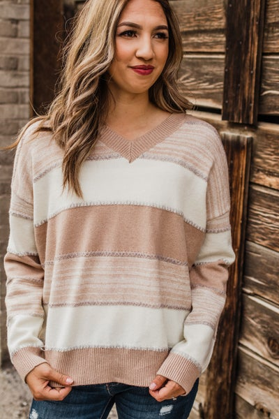 Taupe & Ivory Striped Sweater