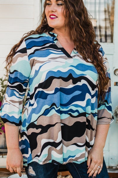 Plus Blue & Ivory Patterned Tunic Top