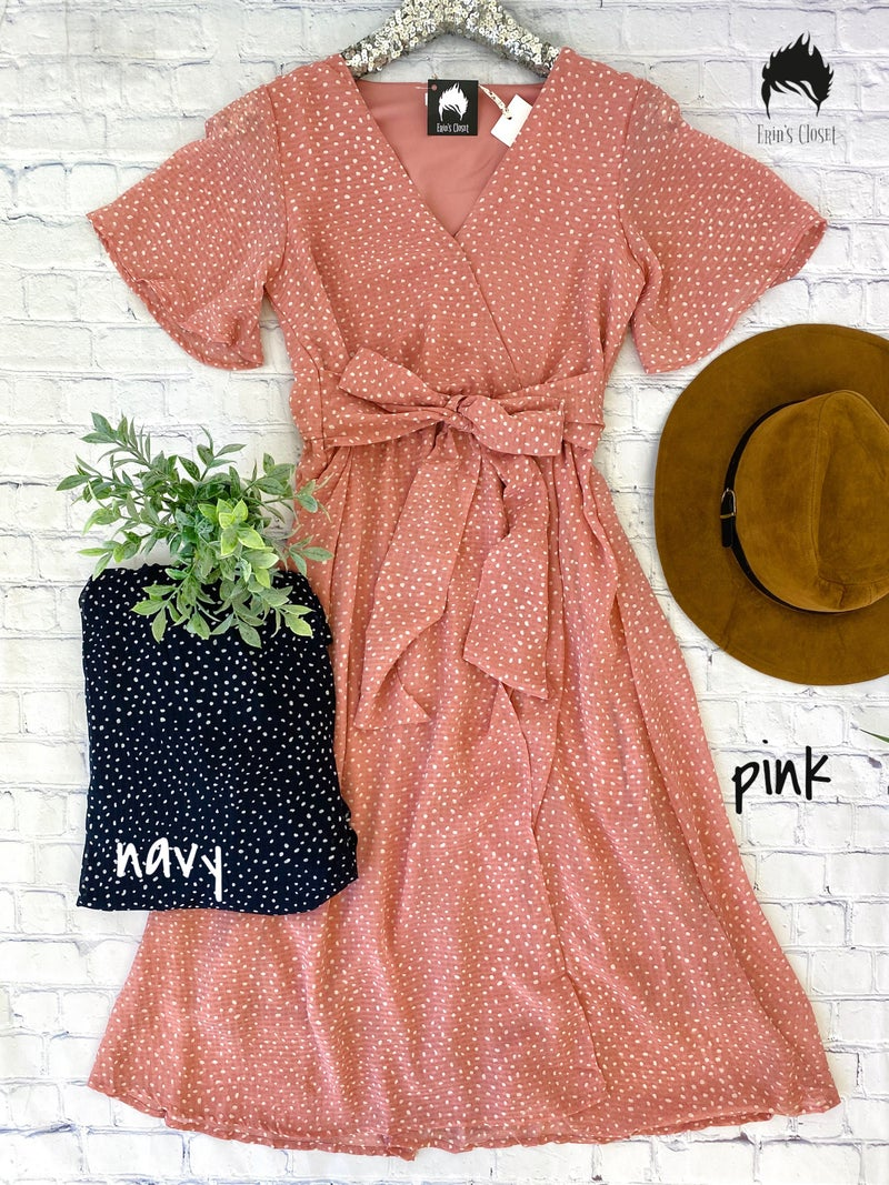 *Erin's Closet* Polka Dot Dress w/ Tie