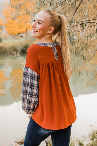 Rust & Plaid Top