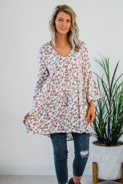 Ivory Floral Tunic Dress *Final Sale*