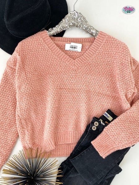 .Misty Rose Chenille Sweater