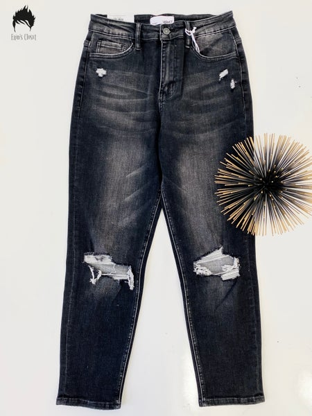 Vervet Distressed Black Stretch Mom Jeans