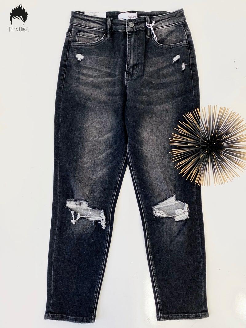 *.Erin's Closet* Vervet Distressed Black Stretch Mom Jeans