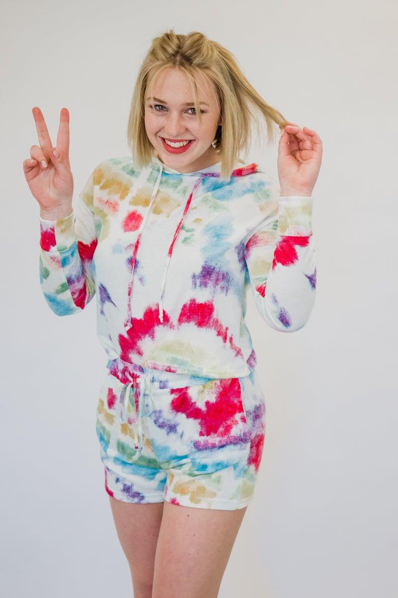 Colorful Tie Dye Hoodie & Short Set