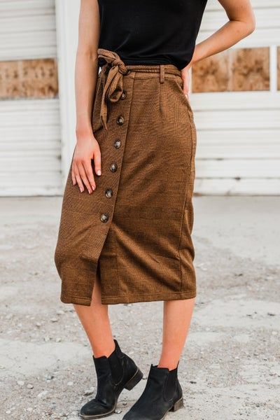 .Mocha & Black Skirt w/ Buttons & Tie *Final Sale*