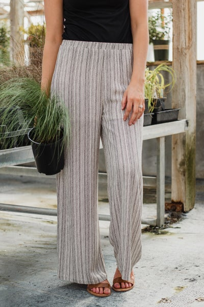Taupe Patterned Palazzo Pants