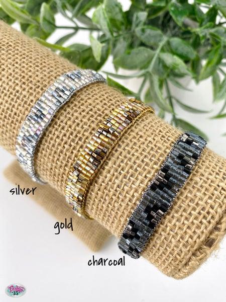 .Metallic Seed Bead Tassel Bracelet