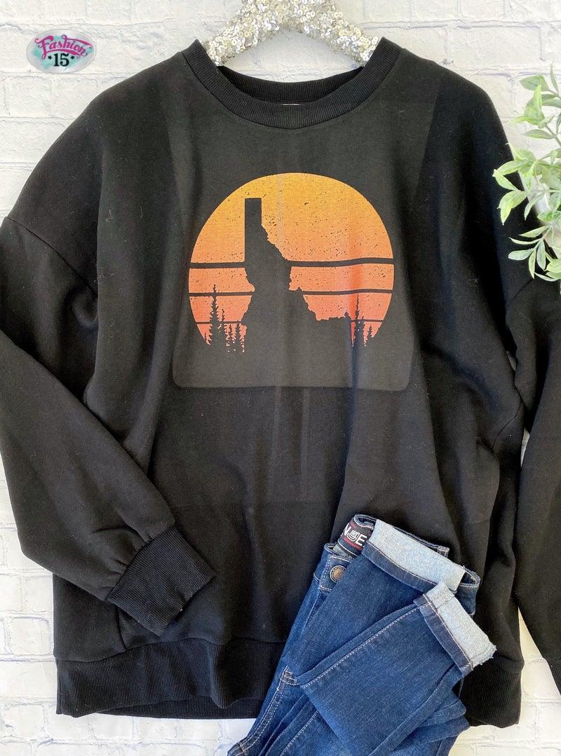 Plus Black Idaho Sunset Sweatshirt