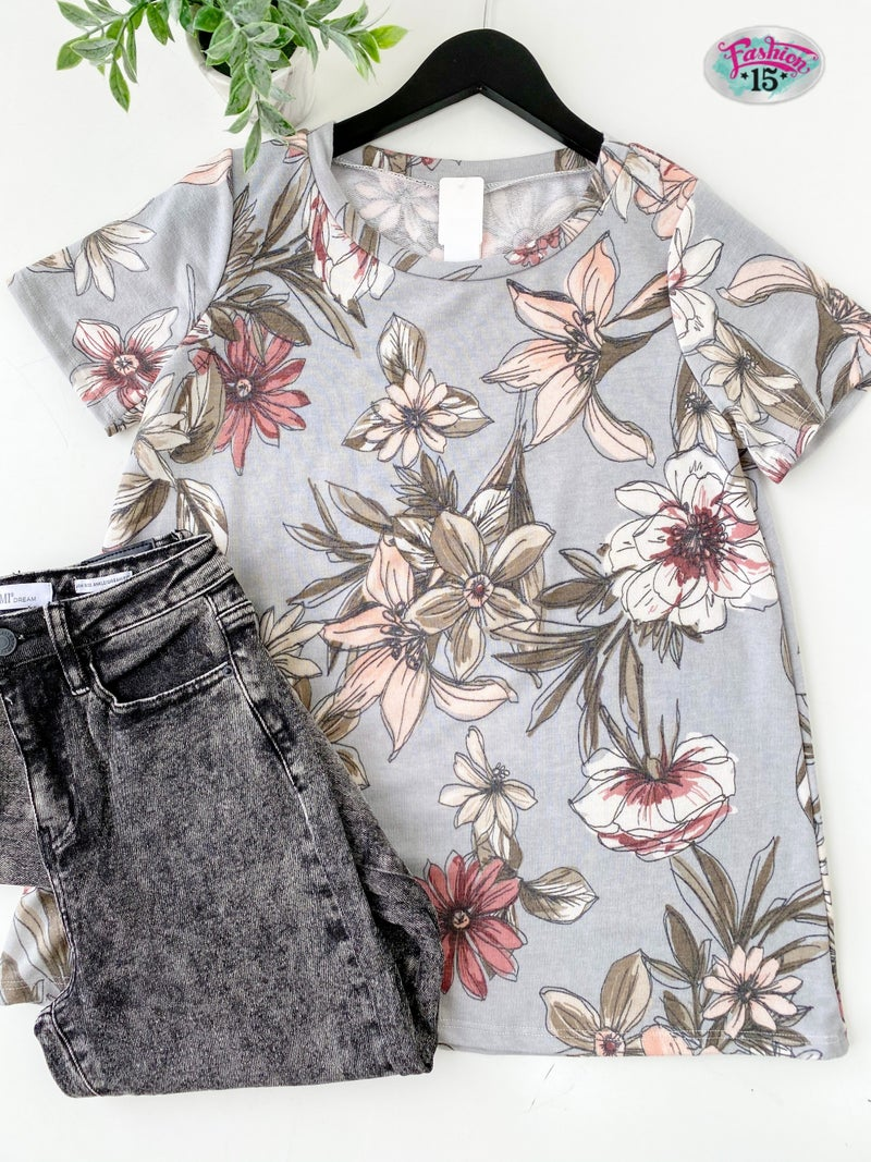 ~Light Blue Floral Top