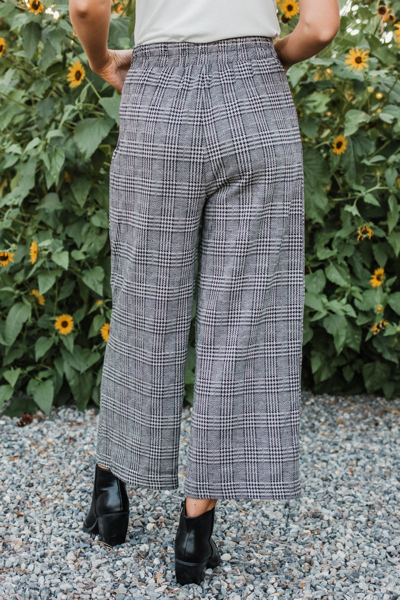 Black & Taupe Houndstooth Pants