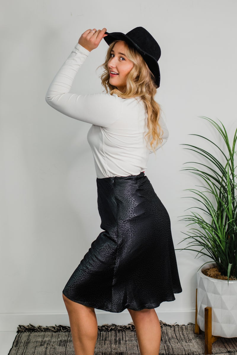 Black Animal Print Skirt