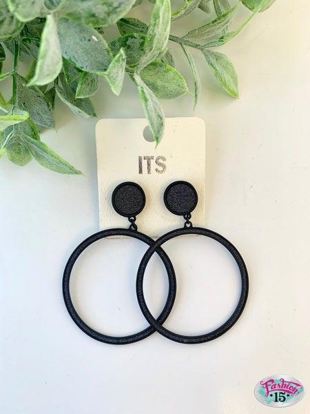 Black Glittery Hoop Earrings
