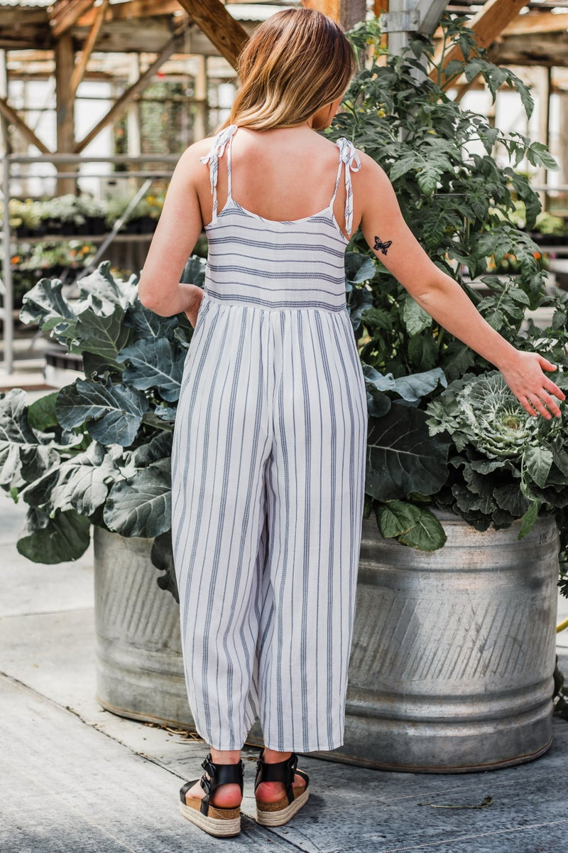 Ivory & Navy Striped Jumpsuit