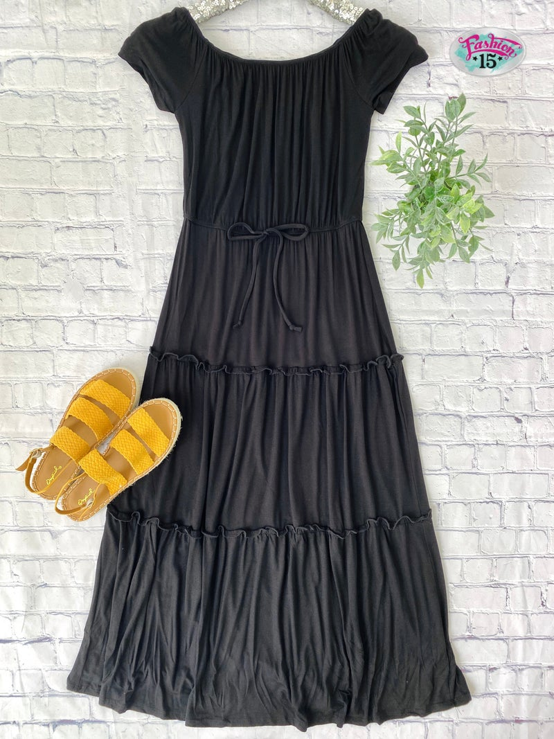 Black Midi Dress w/ Tie Detail