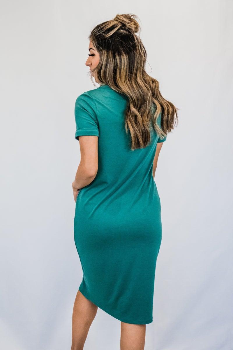 Solid Cuffed Sleeve dress