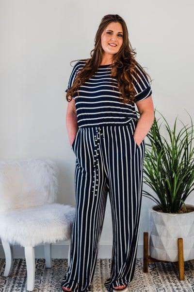 *Erin's Closet* Plus Striped Jumpsuit