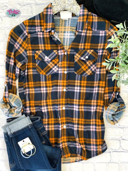 Orange, Pink & Navy Plaid