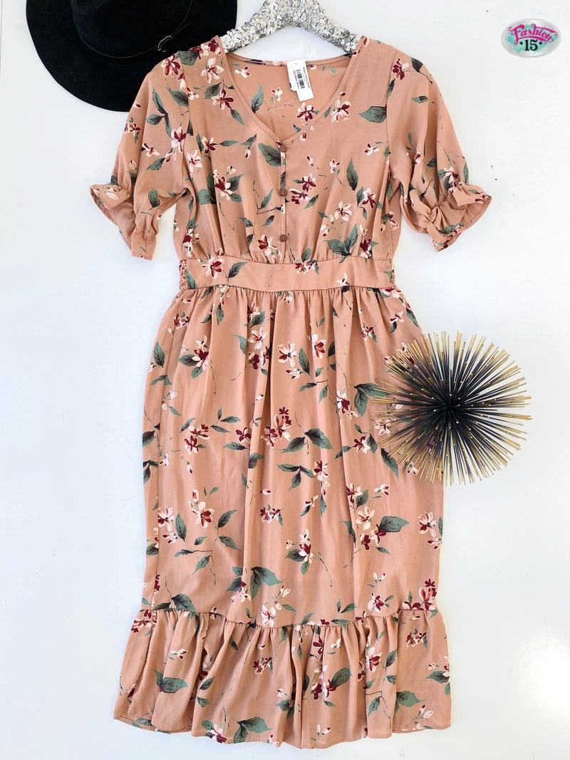 .Peach Floral Dress