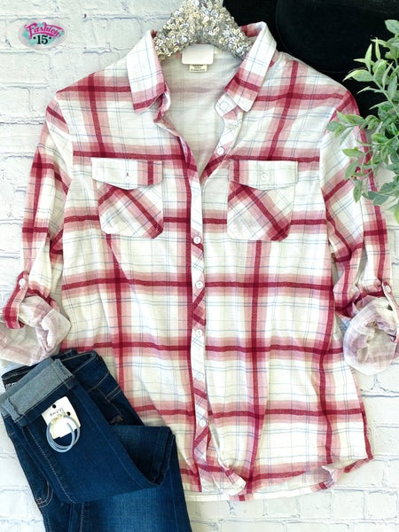Plus Ivory & Mauve Plaid