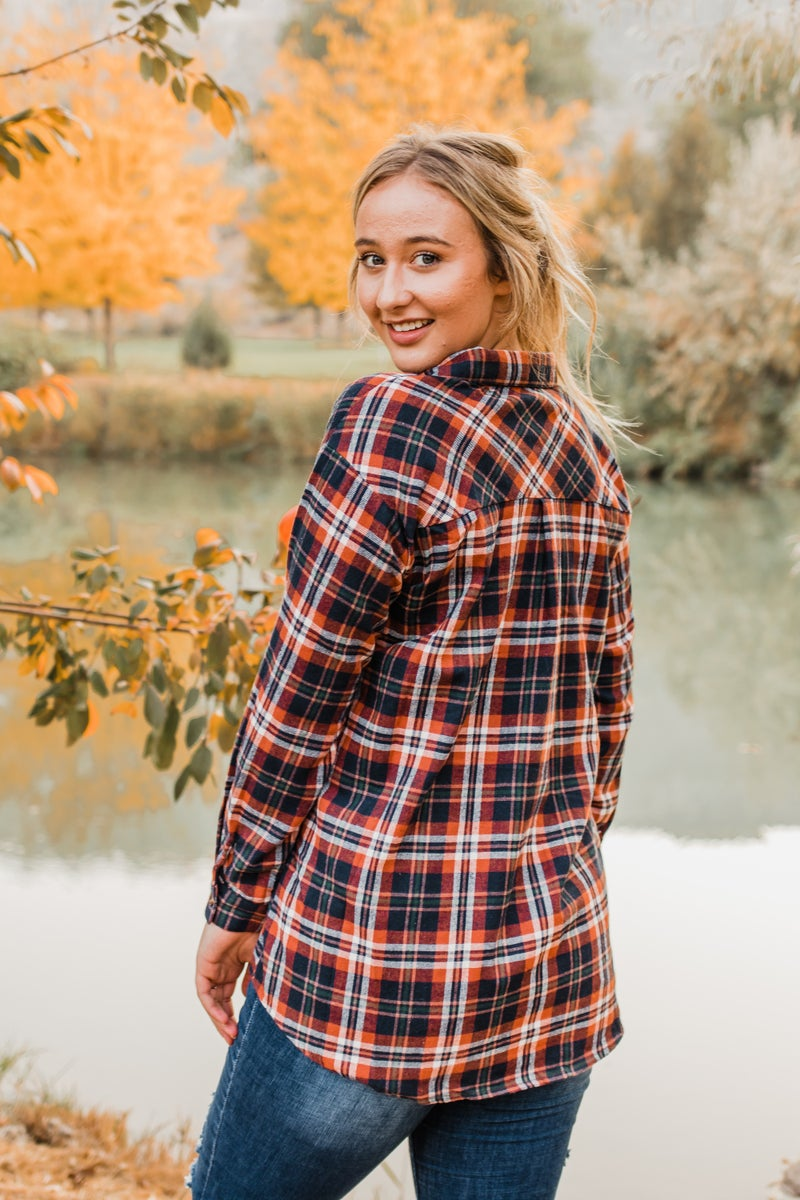 Plaid Button-Up Top